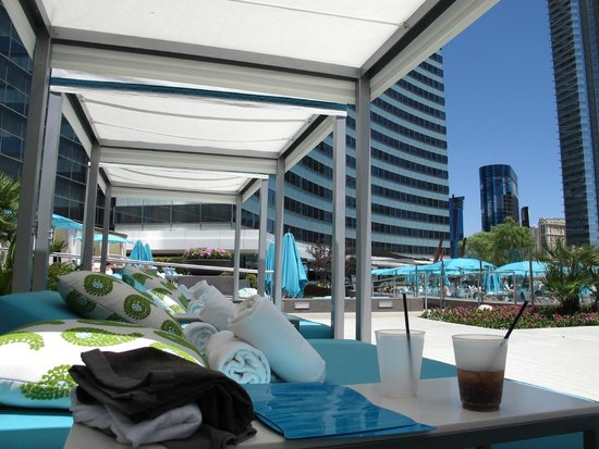 Day bed with canopy at the pool picture of vdara hotel for Pool canopy bed