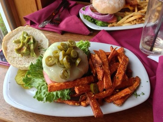 One Mile West : Jalepeno swiss burger with sweet potato fries