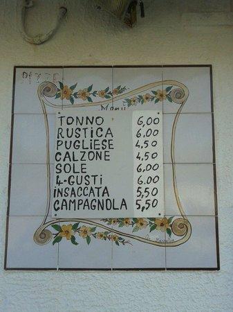 La Sirenetta: menu'
