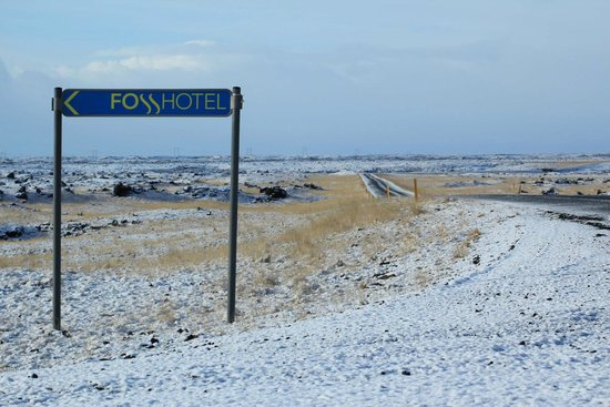 Fosshotel Nupar: Sign to hotel from main highway