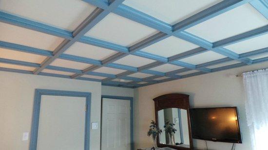 Auberge au Fil des Saisons: Joli plafond de la chambre