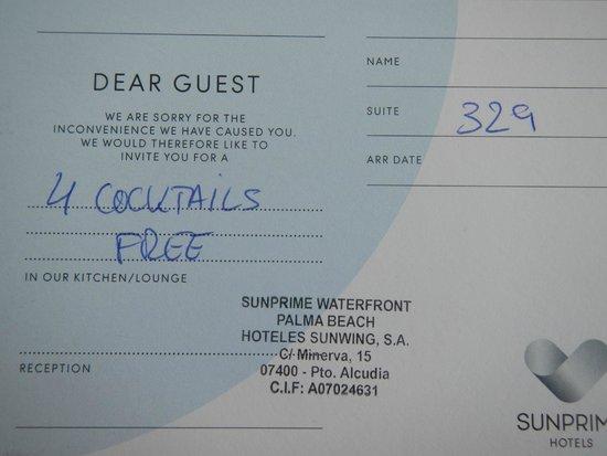 Sunprime Waterfront: vorgedrucktes Entschuldigunggsschreiben