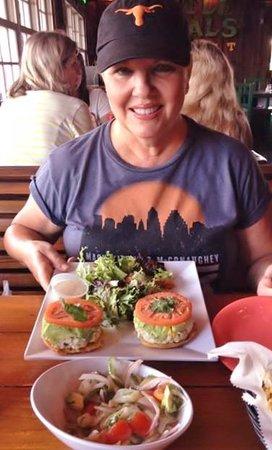 Turtle Kraals: Arepas Toasted Pistachio & Raisin Chicken Salad, Key West Ceviche
