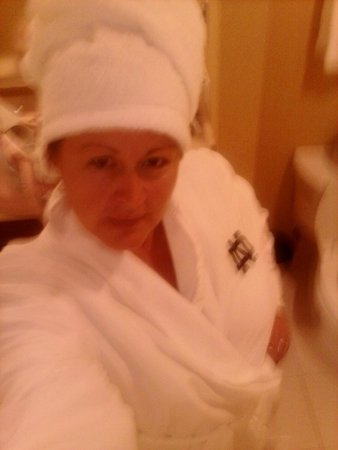 Morris Inn: me in the $139 bathrobe :)
