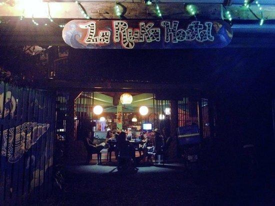 La Ruka Hostel: view from road at night
