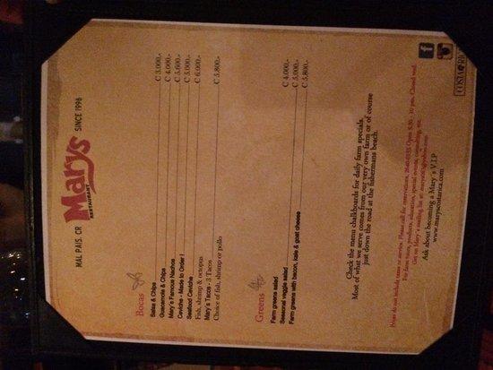 Mary's Restaurant: Menu