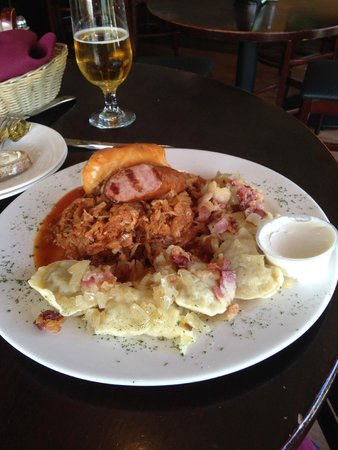 ROYAL WARSAW: Great combo of sausage, perogies, stuffed cabbage, & stew
