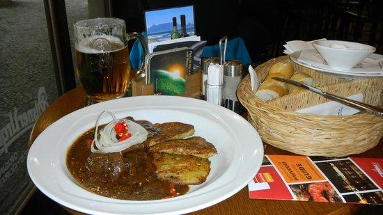 U Kostela (near church): Beef Goulash and Potato Pancakes