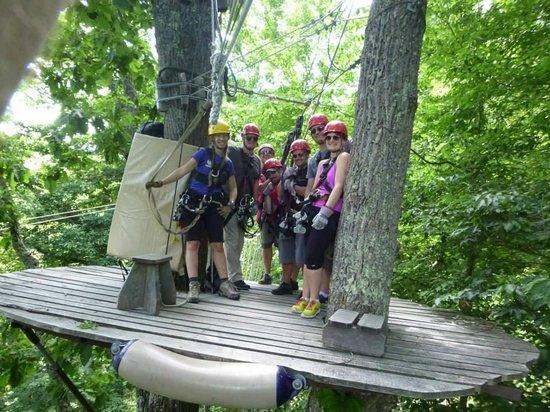 Navitat Canopy Adventures - Asheville Zipline: Waiting to zip!