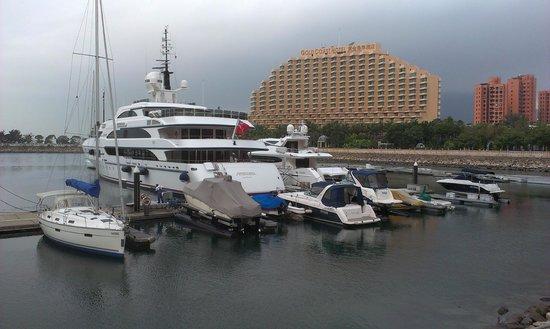 Hong Kong Gold Coast Hotel: Looking towards the hotel from the marina