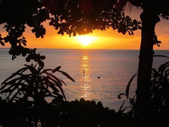 Sunset Bay Club & SeaSide Dive Center : le couché de soleil vu de la terrasse de l'hôtel