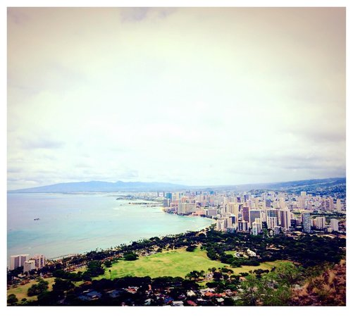 View on top of Diamond Head in Honolulu, HI. Breathtaking views all around!