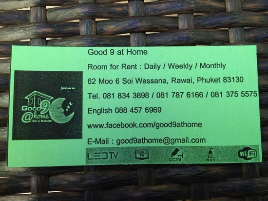 Good 9 at Home : For your next visit, there is a business card