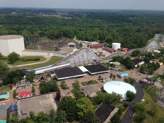 Kings Island : The Racer, with gray & red Fire Hawk (my fav) behind