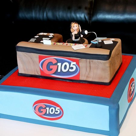 Bob and the Showgram G105 Raleigh Radio station birthday cake