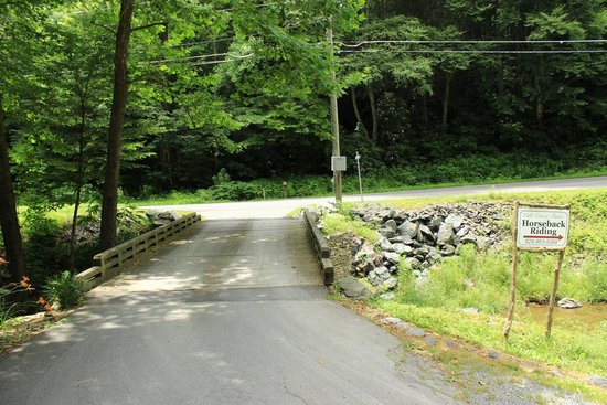 Valle Crucis Farm: Small bridge to the farm over the stream