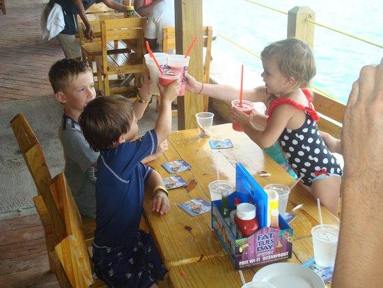 Fat Tuesday Nassau Bahamas: Kids enjoying virgin Strawberry Daiquires at Fat Tuesday Bahamas