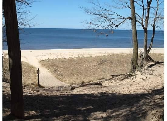 Hoffmaster State Park: Picture from spring 2011.  Looking from one of the walking trails, at Lake Michigan.  Steep hill