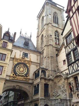 Rue du Gros Horloge : One side of the clock