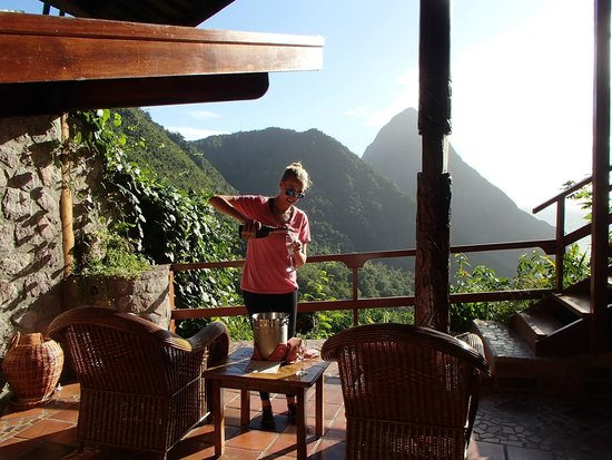 Ladera Resort: My new wife pouring our champagne with the best view possible