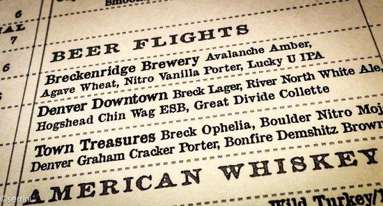 Breckenridge Brewery: the menu