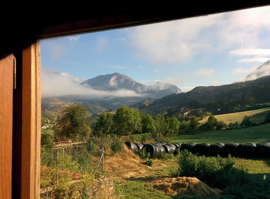 Casa Gustavo Holiday Accommodation in the Picos de Europa: The view from the kitchen window.