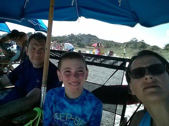 Coligny Beach: Under umbrella