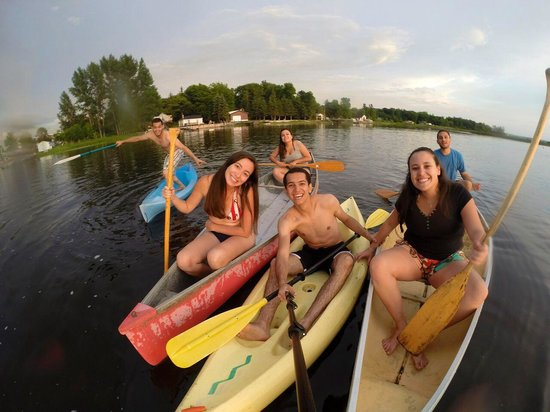 Friends enjoying the free kayaks and canoons at Muskey's Landing