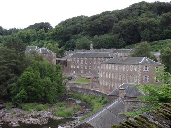 New Lanark Mill Hotel: new Lanark from the Clyde Falls walk