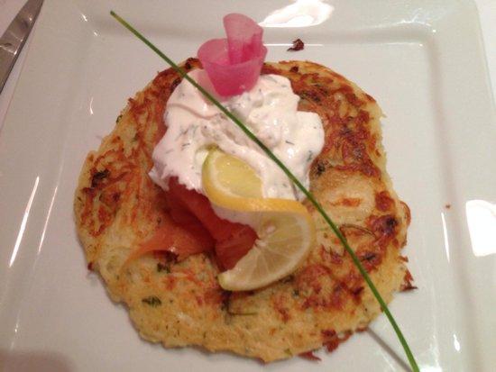 Au Petit Tonnelier: Salmon with dill yogurt on top of a potato pancake.