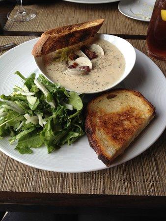 The Dining Room at Salish Lodge & Spa: chowder, grilled cheese, arugula salad