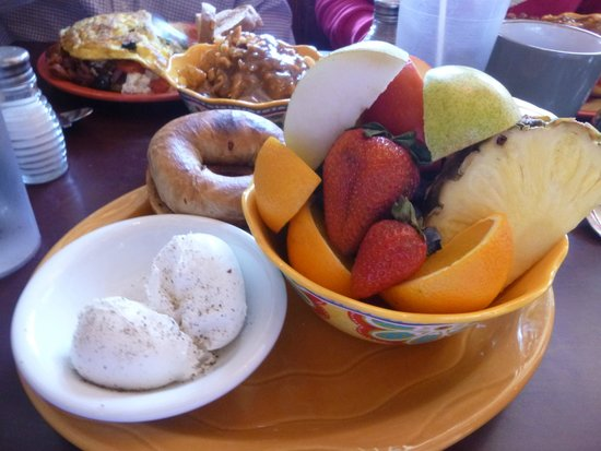 Bagel Cafe: Poached eggs, bagel and fruit