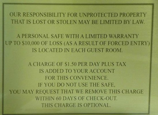 Sleep Inn & Suites Madison: Sign Describing Safe Fee
