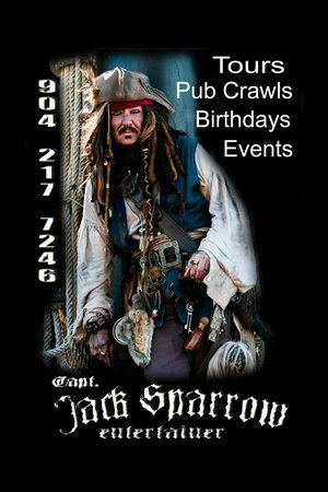 Jack Sparrow ghost tours at The Pirate Store !!  call 904 217 7246 to book now!!