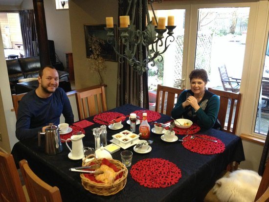 Blue Ridge Boutique Accommodation : Julia eating breakfast with us