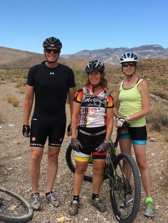 McGhie's Guided Bicycle and Hiking Tours: With our guide Amy (middle) Mt. Biking near Las Vegas.