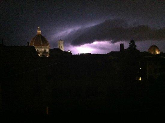 Hotel Loggiato dei Serviti: Beautiful Lightening Storm from Hotel Room Window