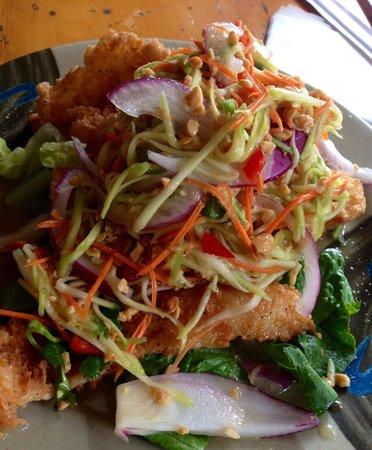 Nutcharee's Authentic Thai Food: Crispy Opaka with Green a Mango Salad