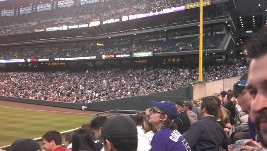 Coors Field : Well lit view of the field and our crowd.