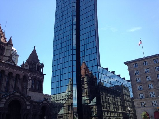 Trinity Church reflected in the Hancock building