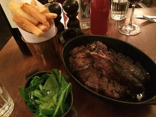 Hawksmoor Guildhall: Porterhouse steak with greens and chips