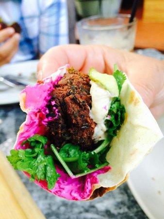 Oleana : Spinach Falafel, Tahini Sauce, Beet Yogurt & Cress