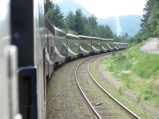The Rocky Mountaineer Train: View of Rocky Mountaineer heading to Kamloops