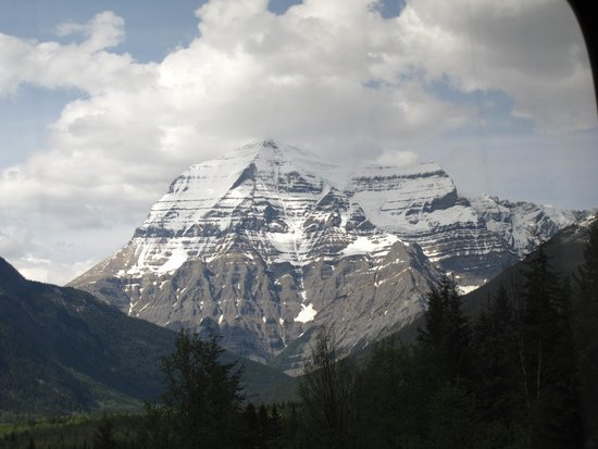 The Rocky Mountaineer Train: Mt Robson 3,950 m in the Canadian Rockies from the Rocky Mountaineer heading to Jasper