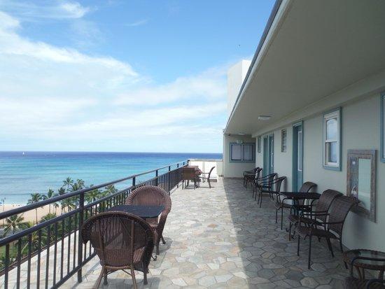 Castle Waikiki Grand Hotel : 屋上サンデッキから海側をのぞむ。