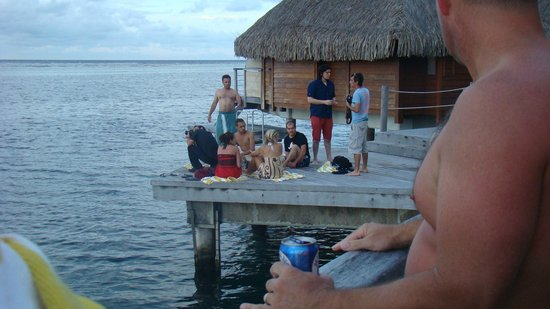Manava Beach Resort & Spa - Moorea : some of the people that would camp out on the dock adjacent to our unit #418