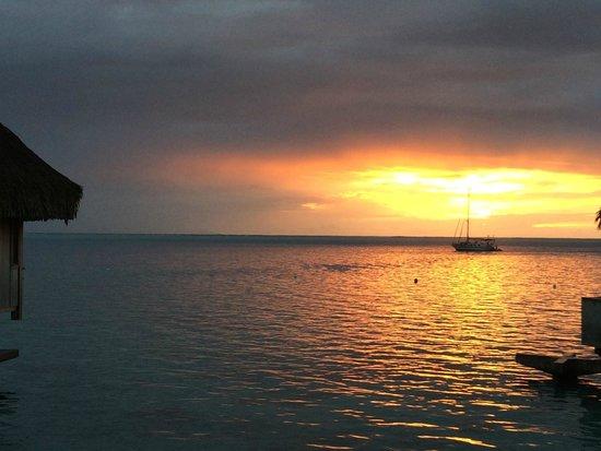Conrad Bora Bora Nui : Sunset from near Villas 327-340