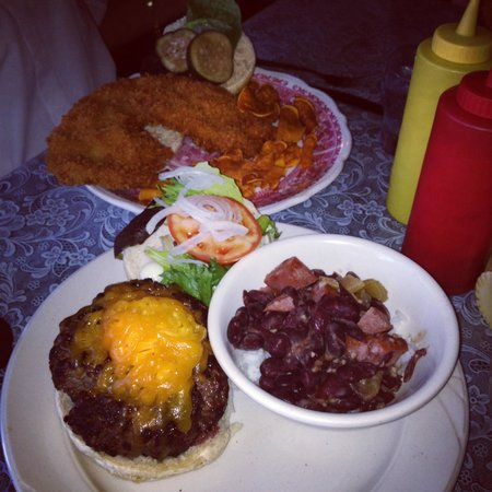Augusta: Hickory fired burger, red beans &rice and a pork tenderloin!
