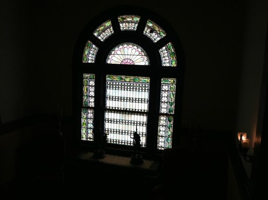 Rockcliffe Mansion: Stained glass window at top of grand staircase