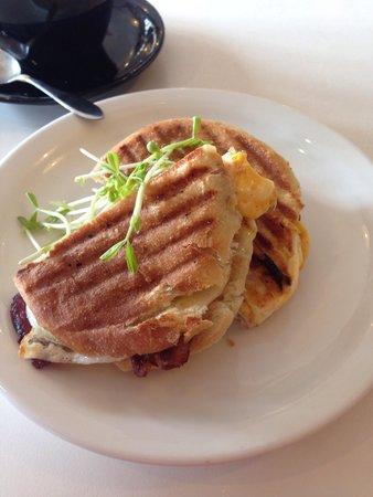 Cafe Moka: Bacon & egg toasted sandwich I had especially made! Was delicious